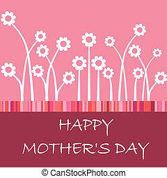 día, feliz, tarjeta, madre, flor