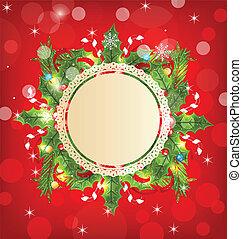 día feriado de christmas, decoración, con, tarjeta de...