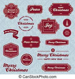 día feriado de christmas, etiquetas