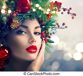día feriado de christmas, maquillaje, primer plano
