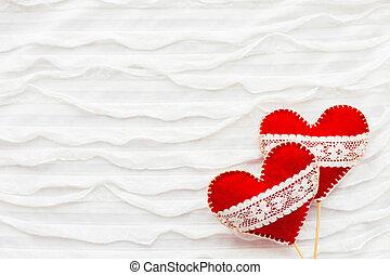 día, fieltro, ruche., símbolo, bueno, tela, tarjetas., text...