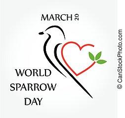 día, gorrión, mundo, marzo, 20
