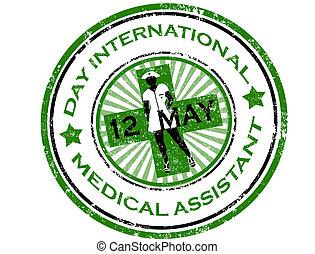 día, internacional, médico, ayudante, estampilla