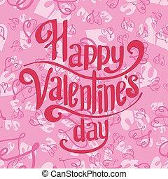 día, letras, tarjeta, plano de fondo, seamless, saludo, valentines, rosa