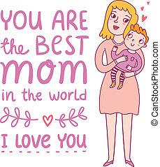 día madres, ilustración, saludo