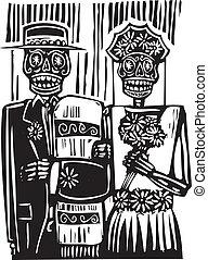 día, muerto, boda