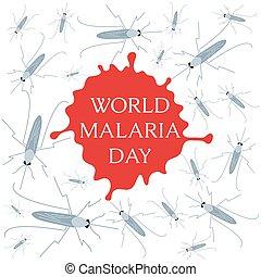 día, mundo, malaria, cartel