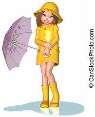día, niña, toon, -, lluvioso