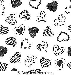 día, papper, diseño, romántico, pattern., sketchy, mano,...