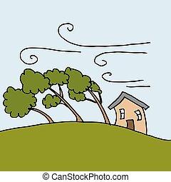 día, pesado, ventoso, doblando, árboles, vientos