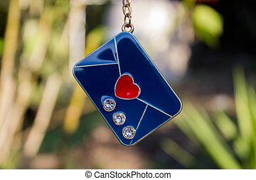 día, san, valentin, de, azul, carta