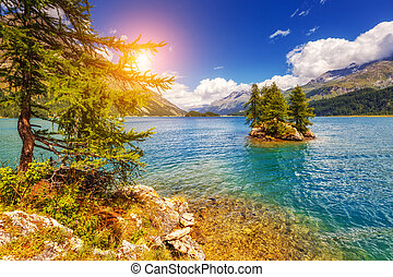 día soleado, lago