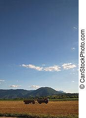 día soleado, y, dramático, sky...