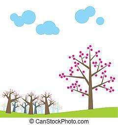 día, tarjeta, ilustración, vector, primavera