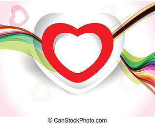 día, tarjeta, valentine, onda