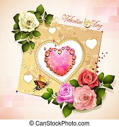 día, tarjeta, valentino