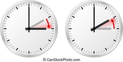 día, tiempo, ahorro, cambio, estándar