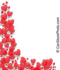 día, valentines, corazones, frontera