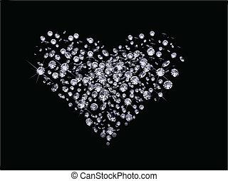 día, valentines, diamantes, vector