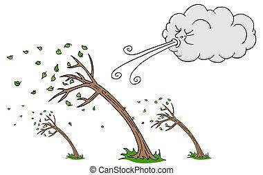 día ventoso, árboles, y, nube, soplar, viento