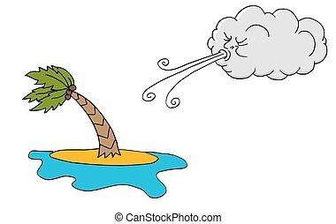 día ventoso, isla, plam, árbol, y, nube, soplar, viento