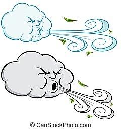 día ventoso, nube, soplar, viento, y, hojas