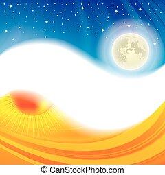 día y noche, yang de ying, concepto, plano de fondo
