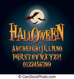 dígito, alfabeto, halloween, tridimensional, vector