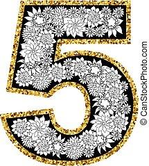 dígito, alfabeto, mano, 5, dibujado, design.