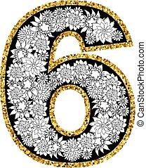 dígito, alfabeto, mano, 6, dibujado, design.