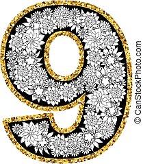 dígito, alfabeto, mano, 9, dibujado, design.