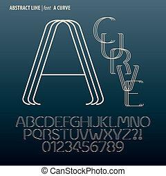 dígito, alfabeto, resumen, curva, vector, línea