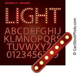 dígito, clásico, alfabeto, vector, foco, rojo