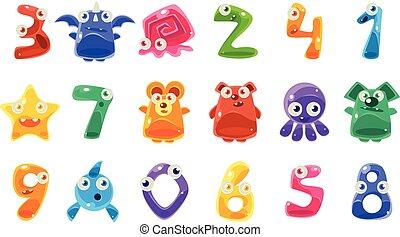 dígito, conjunto, animales, formado, jalea, otro, criaturas