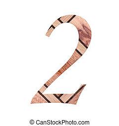 dígito, madeira, símbolo, -, isolado, um, fundo, 2., branca