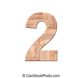 dígito, madeira, símbolo, -, isolado, um, fundo, parquet, 2., branca