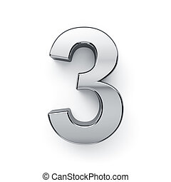 dígito, render, -, 3, tres, metalic, simbol, 3d