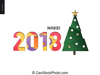 dígitos, -, árbol, 2108, navidad, papercut