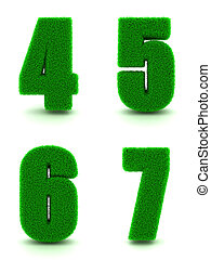 dígitos, 4, 5, 6, 7, de, 3d, grama verde, -, set.