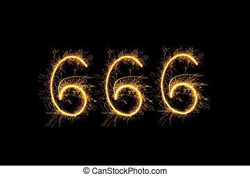 dígitos, 666, aislado, brillante, fondo negro