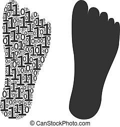 dígitos, binário, pegada, composição, human