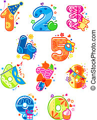 dígitos, caricatura, números, juguetes
