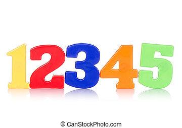 dígitos, cinco, colorido