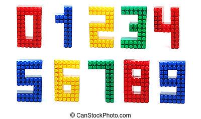 dígitos, conjunto, aislado, lego