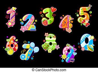 dígitos, crianças, coloridos, números
