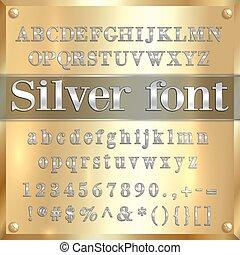 dígitos, cubrir, oro, alfabeto, puntuación, cartas, vector,...