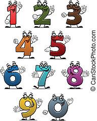 dígitos, divertido, caricatura, números