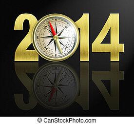 dígitos, dorado, 2014, compás, ilustración, año, nuevo