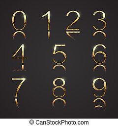 dígitos, dorado