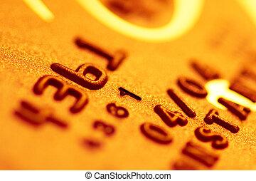 dígitos, dorado, primer plano, tarjeta, credito